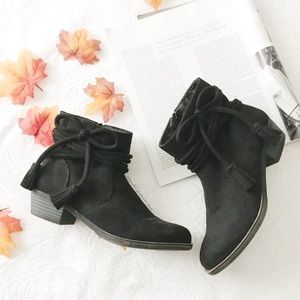 Black Faux Suede Ankle Bow Ankle Boots